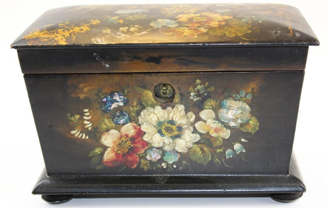 19th c lacquered tea box w/ MOP inlay