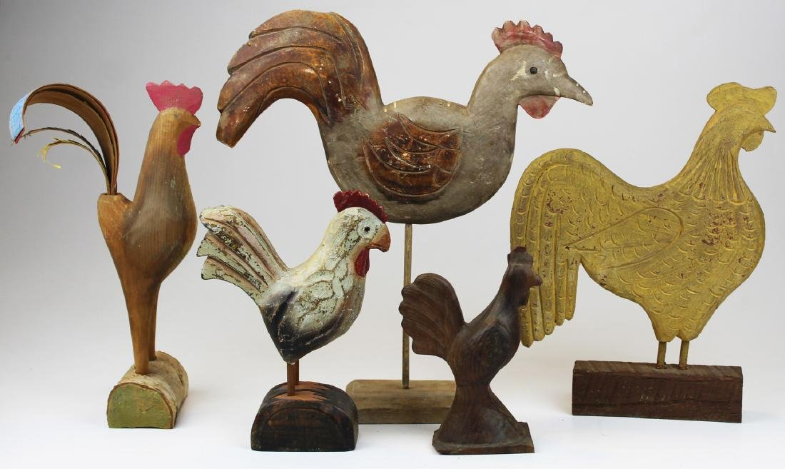 five 20th c folk art carved wooden chickens
