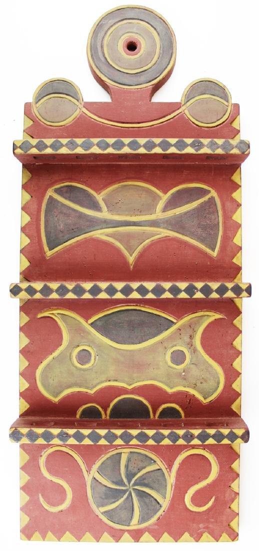 Louis H Beausoliel carved & painted spoon rack