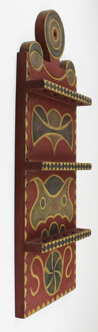 Louis H Beausoliel carved & painted spoon rack - 2