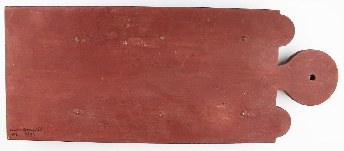 Louis H Beausoliel carved & painted spoon rack - 3