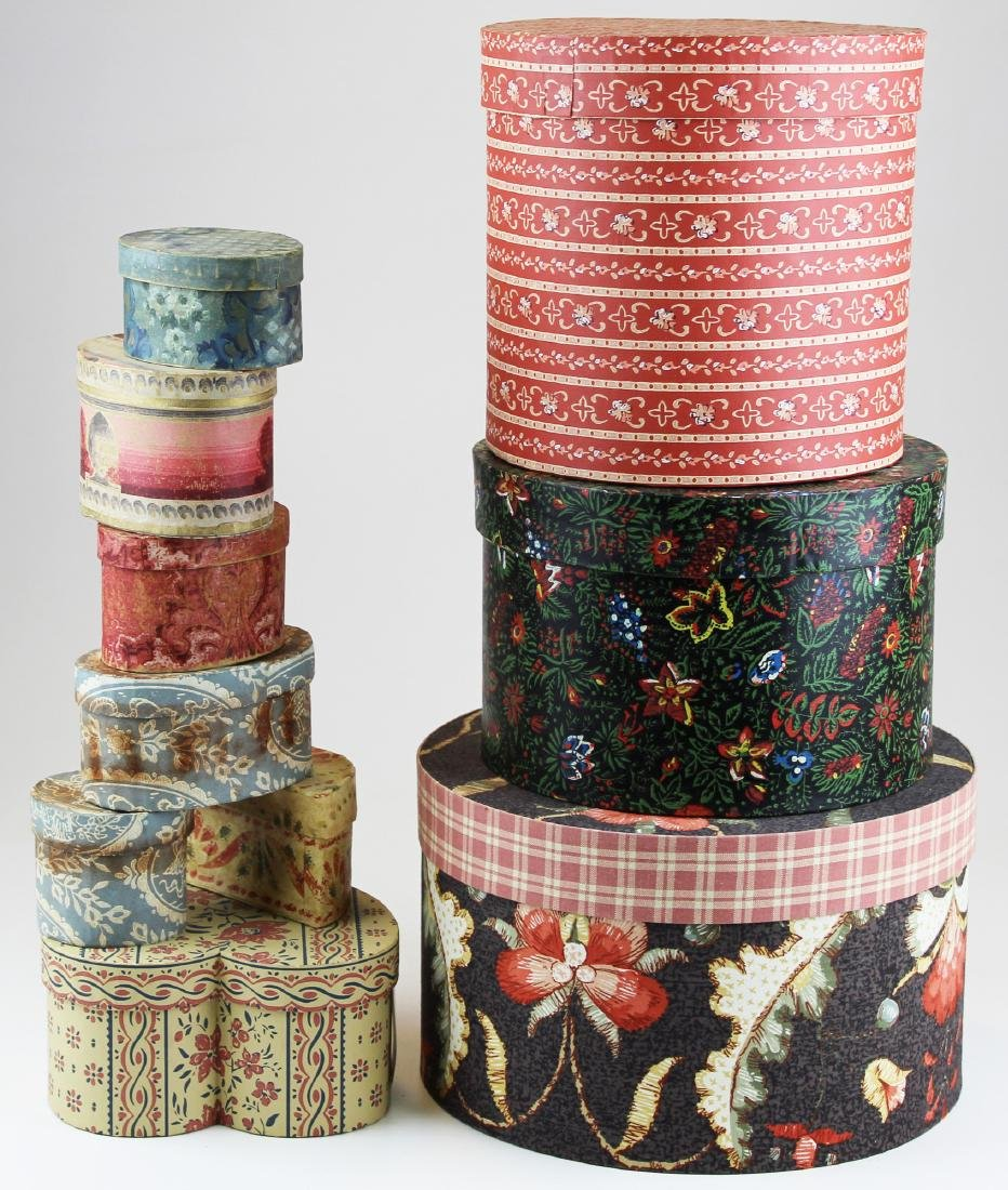 collection of late 20th c wallpaper band boxes