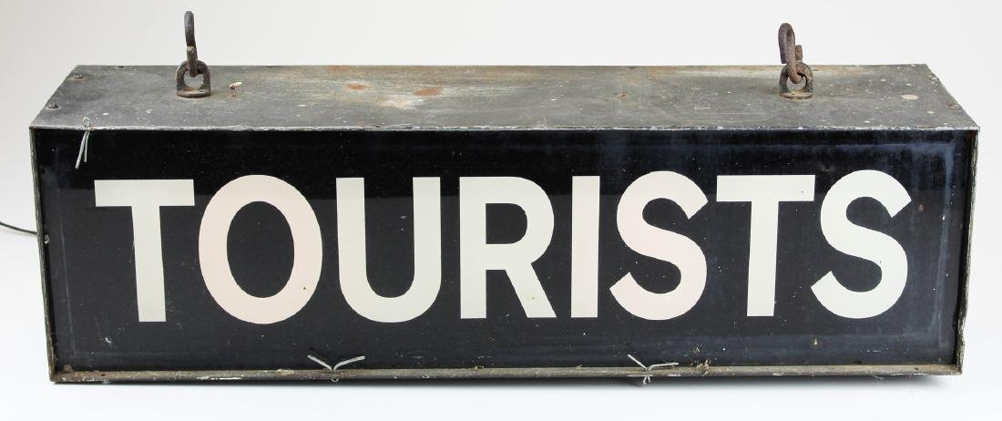 vintage 1940's lighted Tourists sign