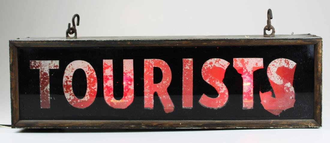 vintage 1940's lighted Tourists sign - 4
