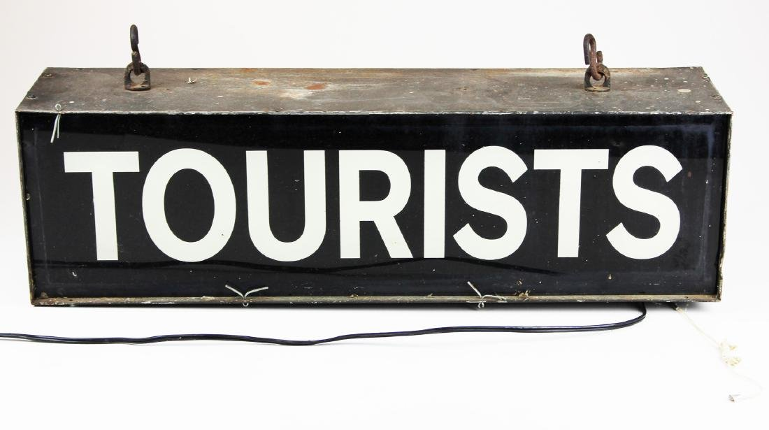 vintage 1940's lighted Tourists sign - 5
