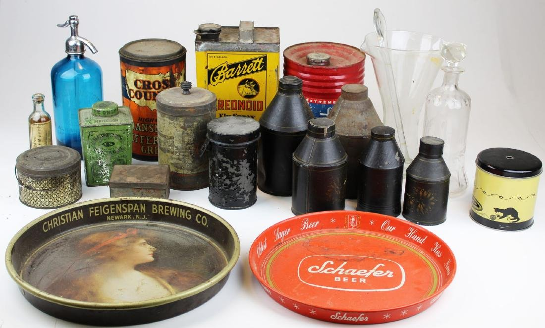 vintage advertising tins, bottles, trays