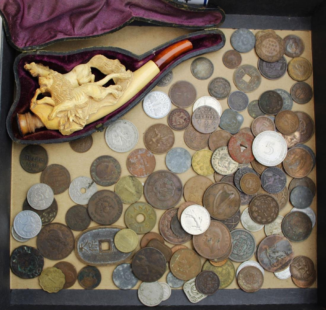 US, Foreign coins, Meerschaum pipe- as is