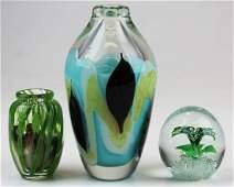 3 pcs. Contemporary art glass incl. Lundberg