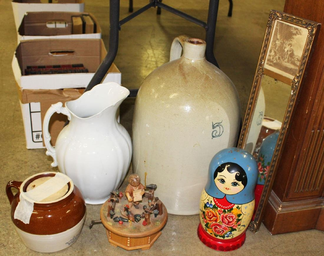 lot including stoneware jug, Thorens music box
