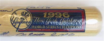 1996 New York Yankees team signed bat