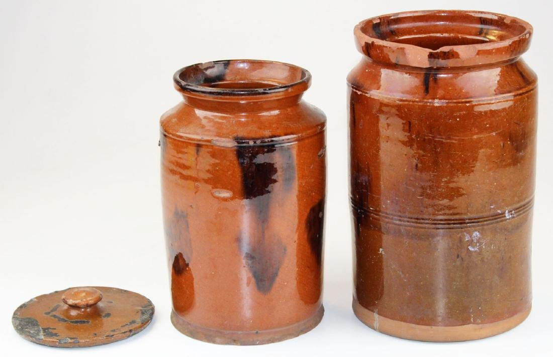 two late 18th- early 19th c redware jars