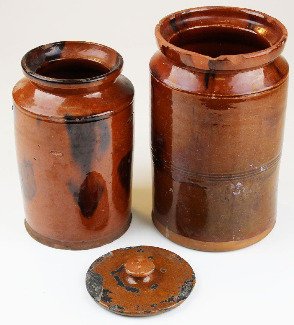 two late 18th- early 19th c redware jars - 2