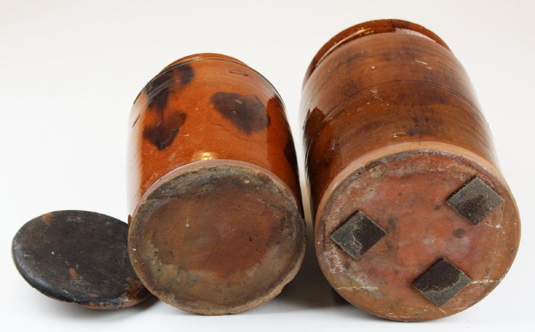 two late 18th- early 19th c redware jars - 4