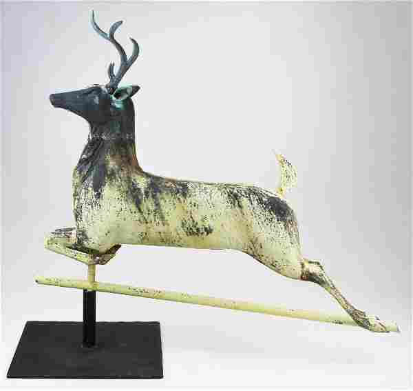 late 19th- early 20th c leaping stag weathervane