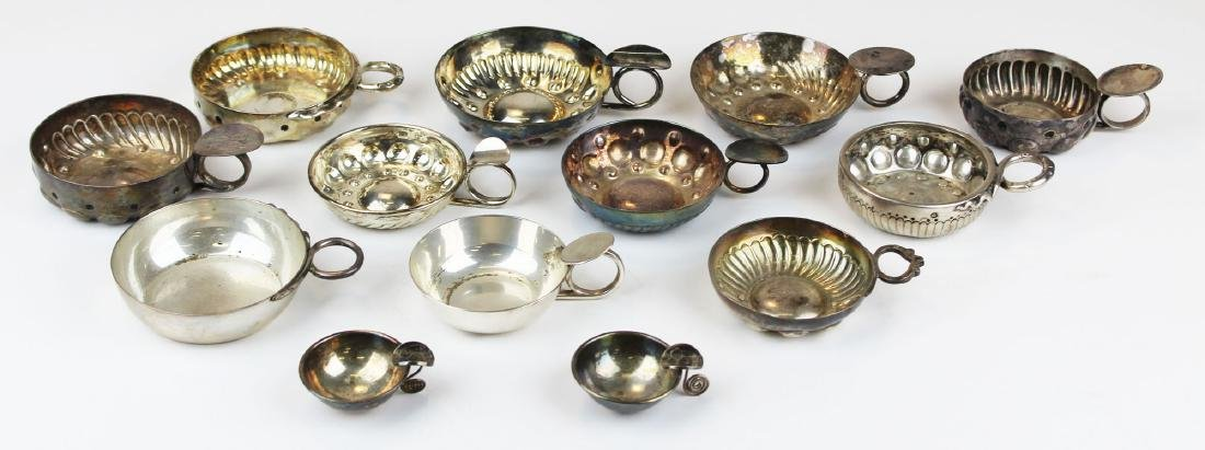 13 sterling and coin silver wine tasting cups