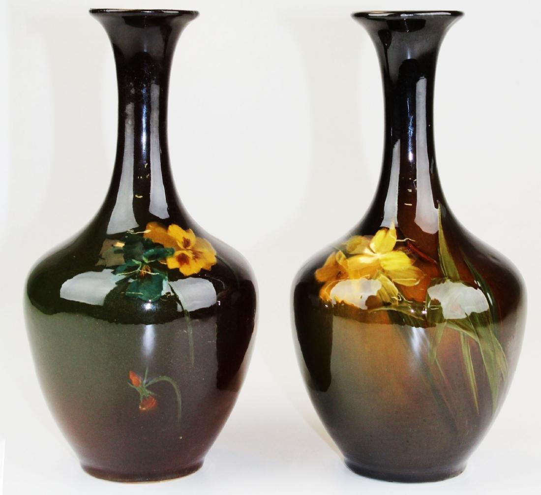 2 Louwelsa Weller floral decorated vases