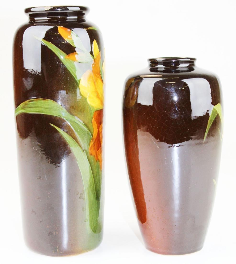 2 Louwelsa Weller floral decorated vases - 2