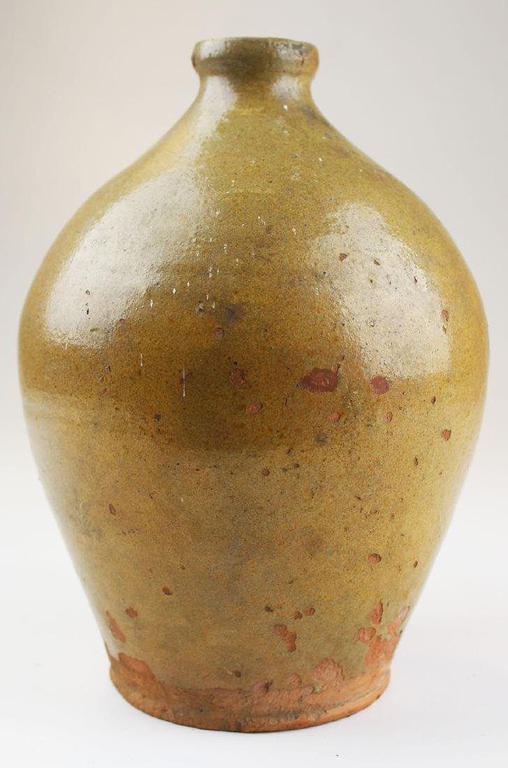 early 19th c Vermont redware ovoid jug