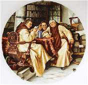 Limoges hand painted porcelain charger with monks