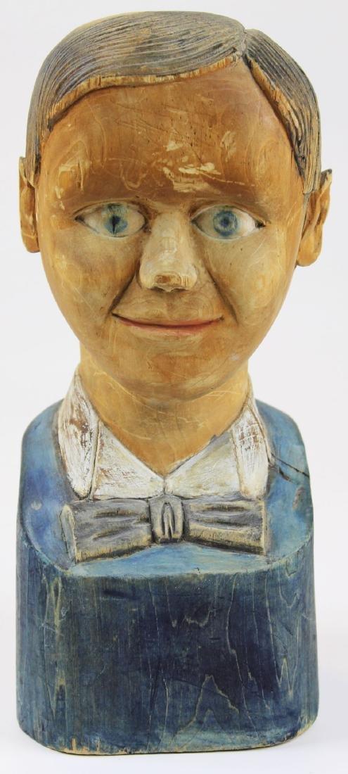 early 20th c folk art wooden bust of boy