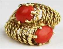 Red coral  yellow gold ring