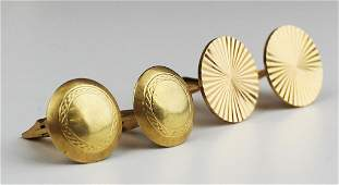 Two pair of men's 14k y g cuff links