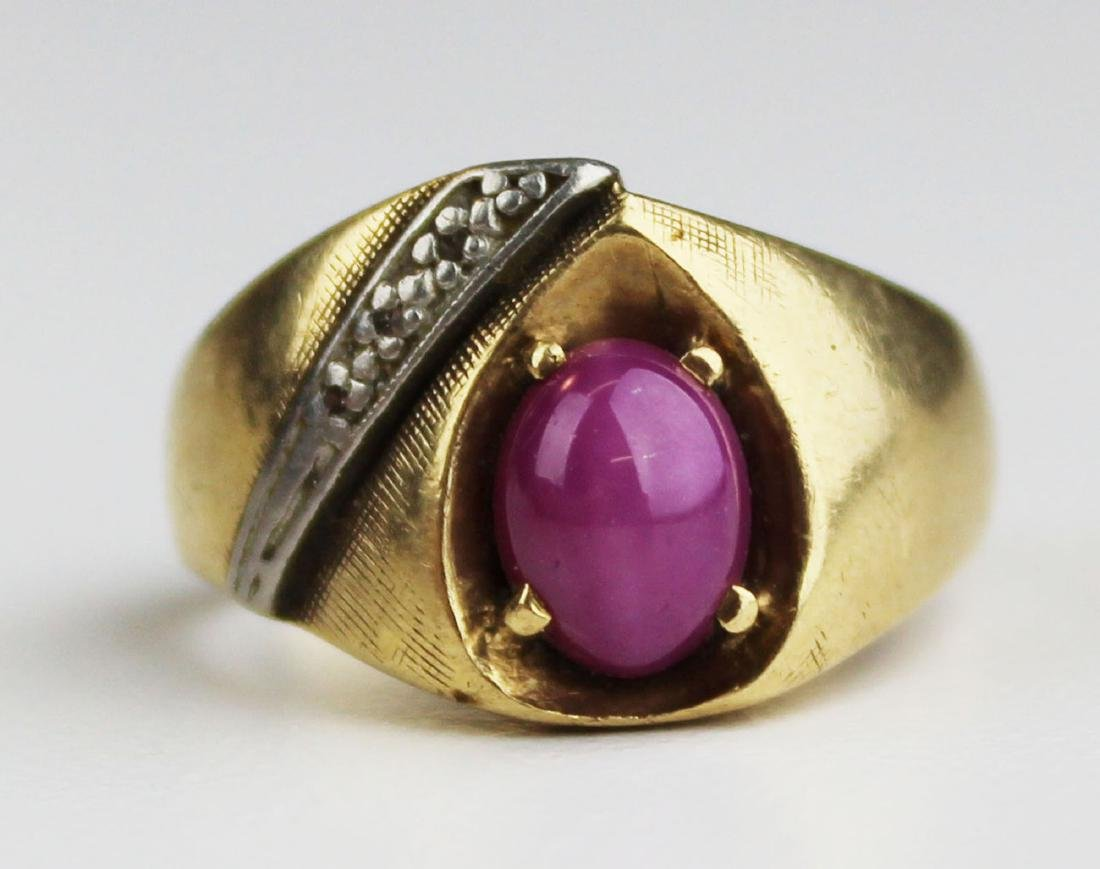 Pink star sapphire & diamond men's ring