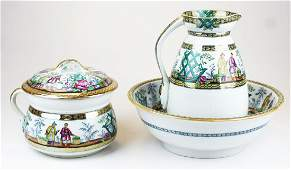 Pekin pattern ironstone washbowl and pitcher set