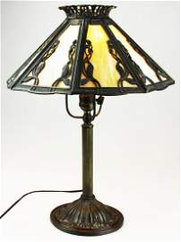 early 20th c slag panel table lamp