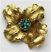 18k yellow gold & turquoise floral brooch