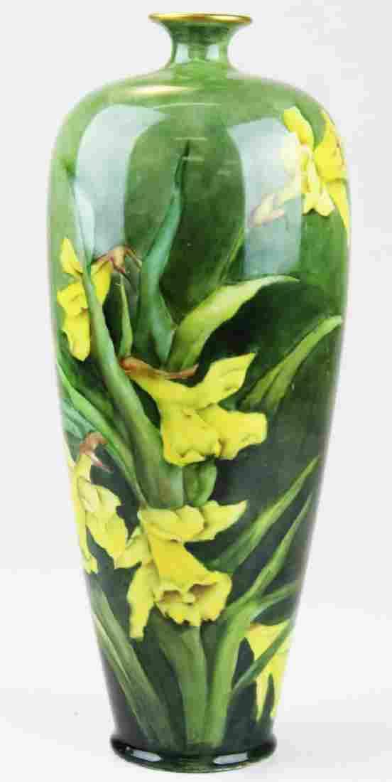 Belleek daffodil handpainted porcelain vase