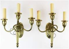 5 mid 20th c brass wall sconces