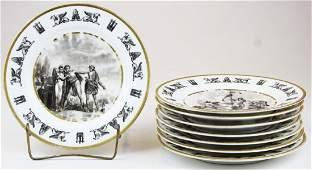 8 Paris porcelain Classical dinner plates