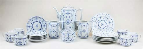 22 pc Reinecke blue onion porcelain tea set