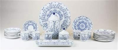28 pc blue onion style porcelain tea set