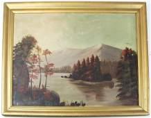 19th c Hudson river school landscape of Lake George