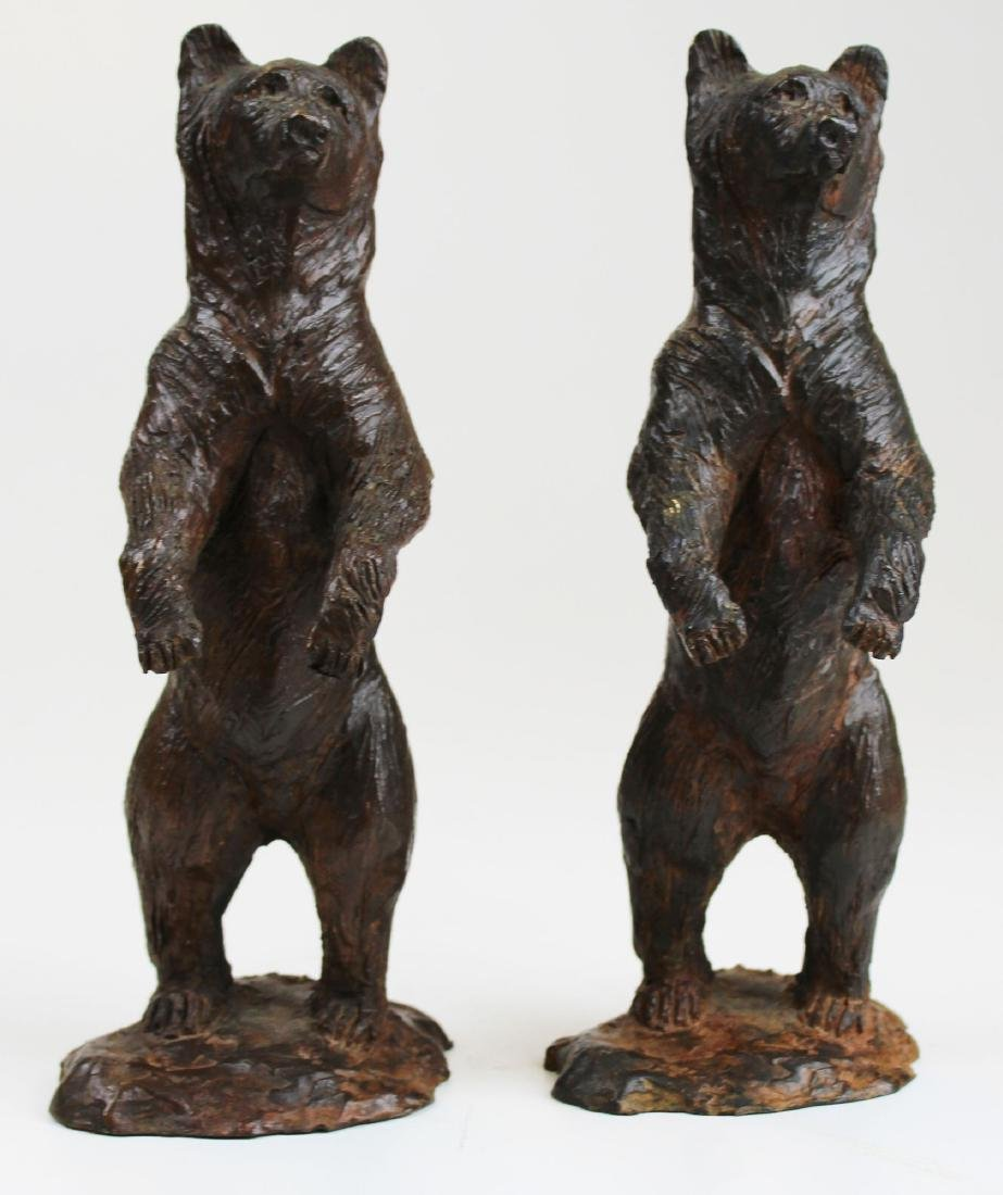 pr of early 20th c bronze bear bookends
