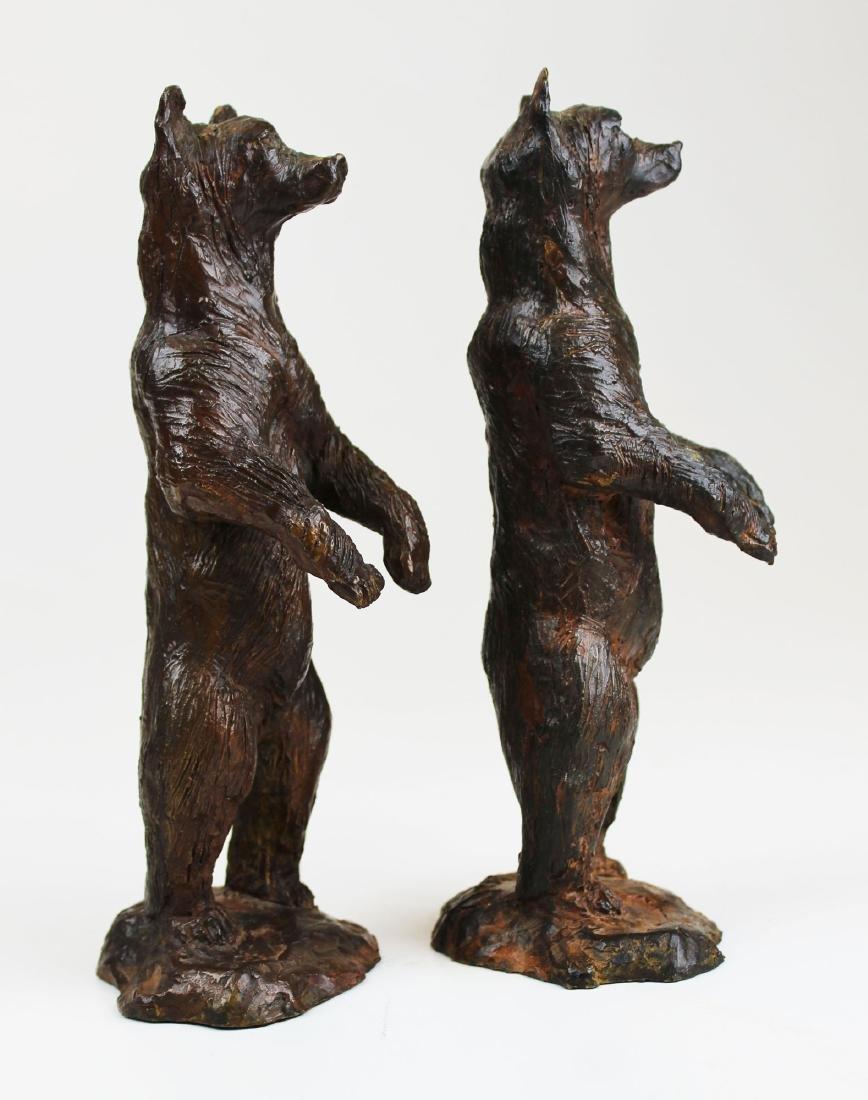 pr of early 20th c bronze bear bookends - 2