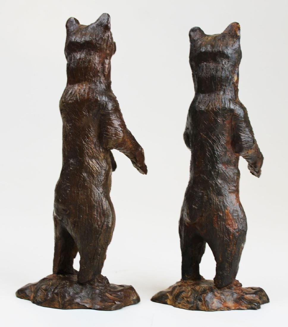pr of early 20th c bronze bear bookends - 3