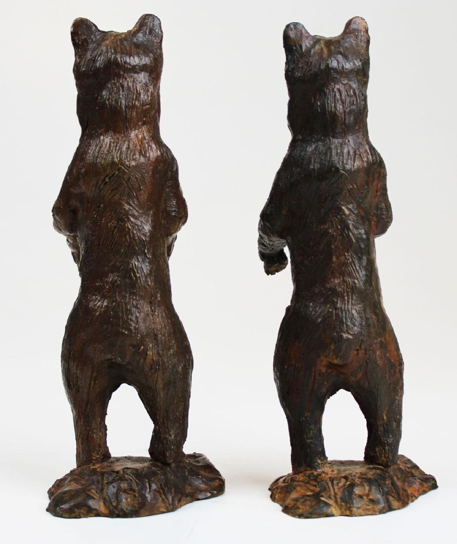 pr of early 20th c bronze bear bookends - 4