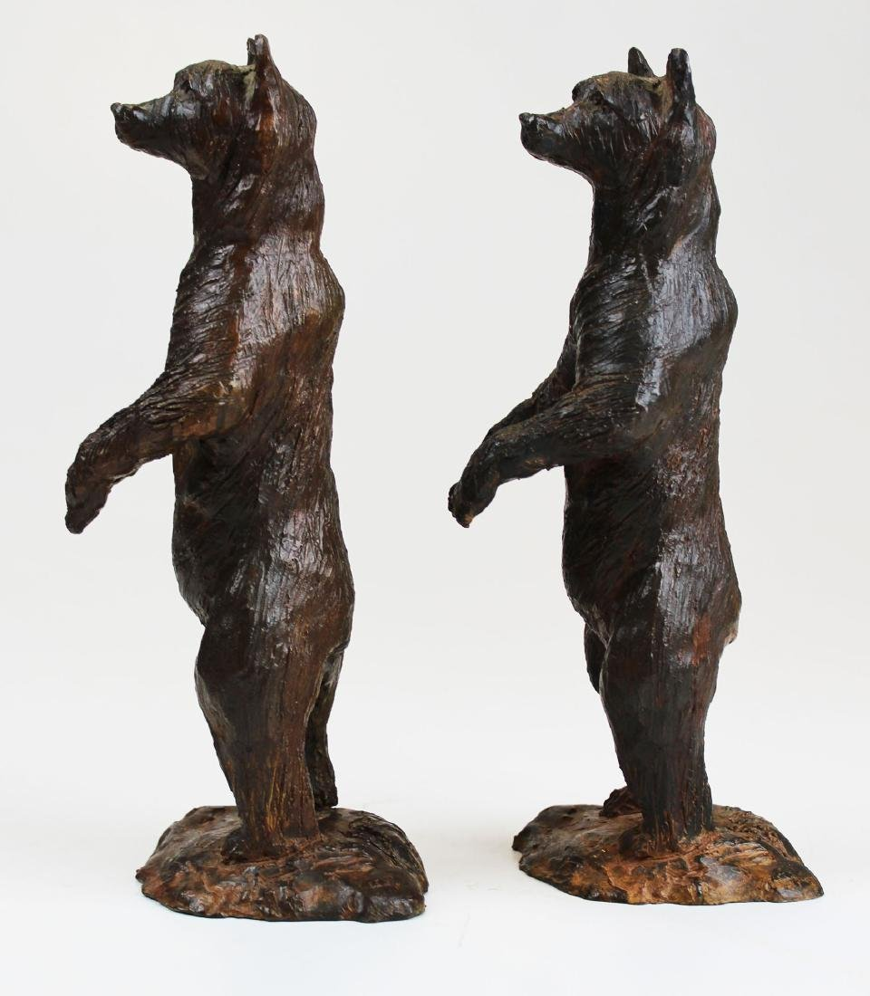 pr of early 20th c bronze bear bookends - 5