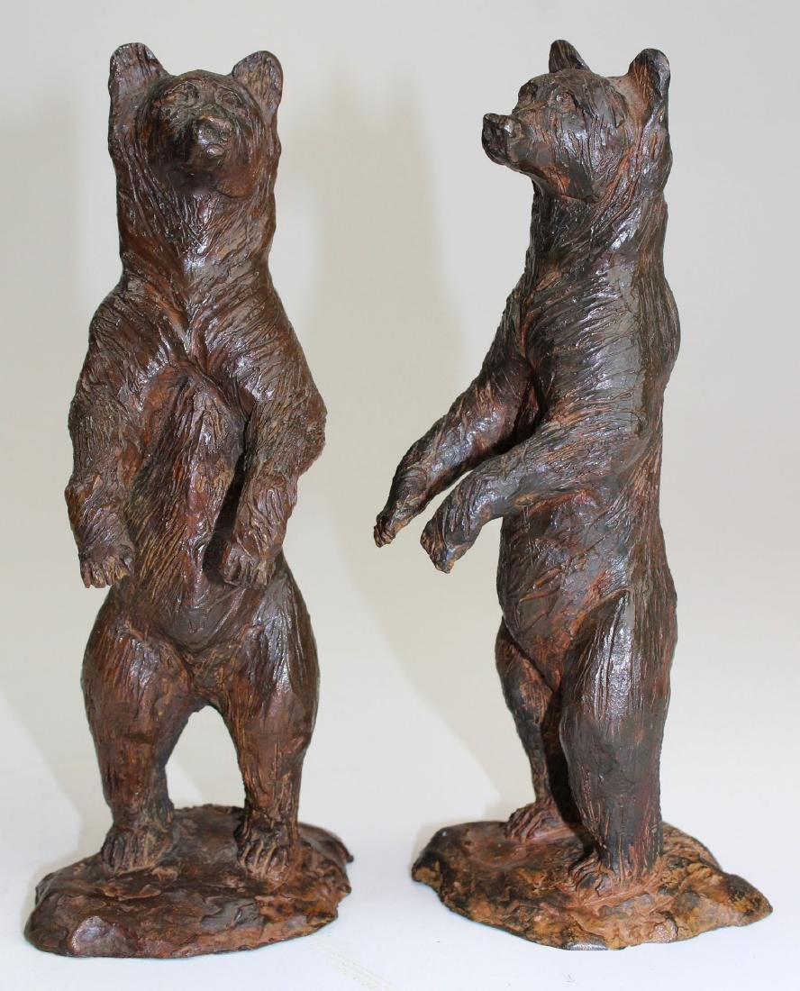 pr of early 20th c bronze bear bookends - 6
