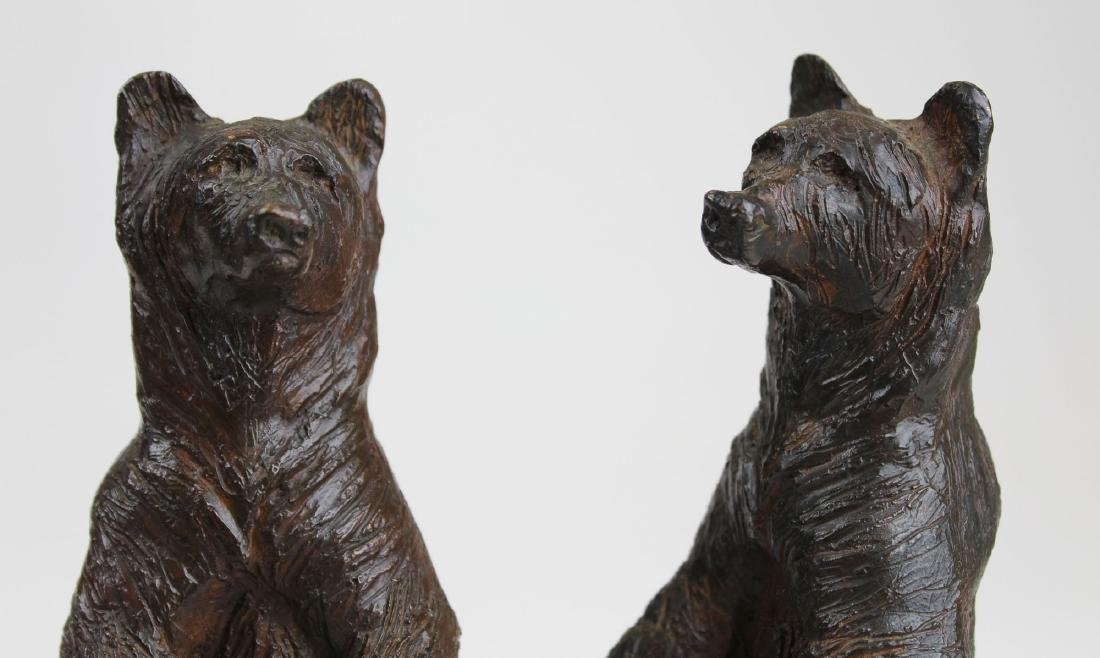 pr of early 20th c bronze bear bookends - 9