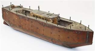 copper clad folk art  model steamboat