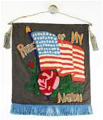 early 20th c patriotic banner with US flag