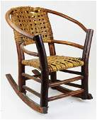 Old Hickory style child's armchair rocker