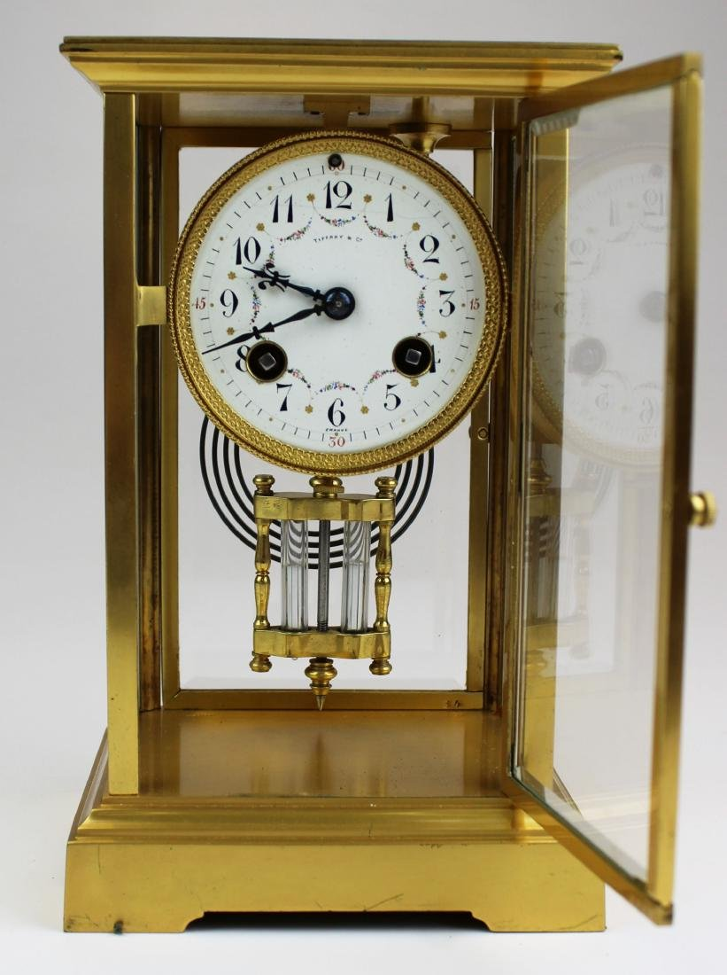 ca 1900 Tiffany & Co French gilt brass clock - 2