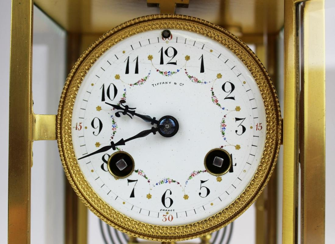 ca 1900 Tiffany & Co French gilt brass clock - 3
