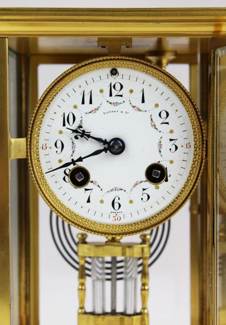 ca 1900 Tiffany & Co French gilt brass clock - 8