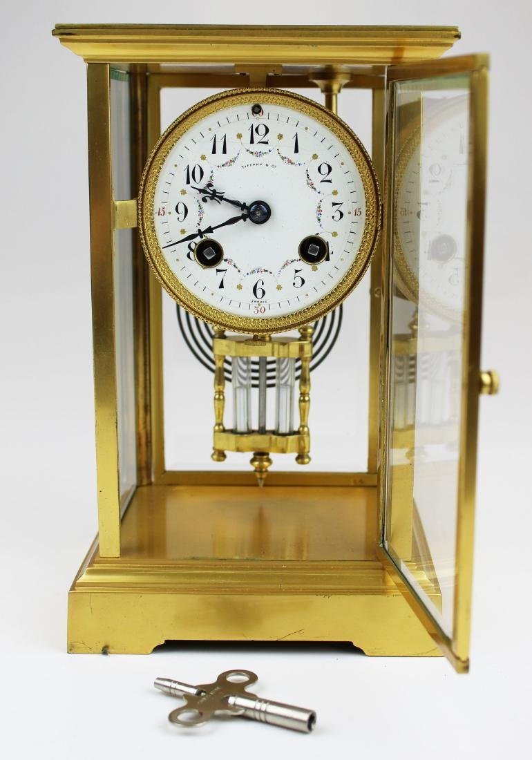ca 1900 Tiffany & Co French gilt brass clock - 9